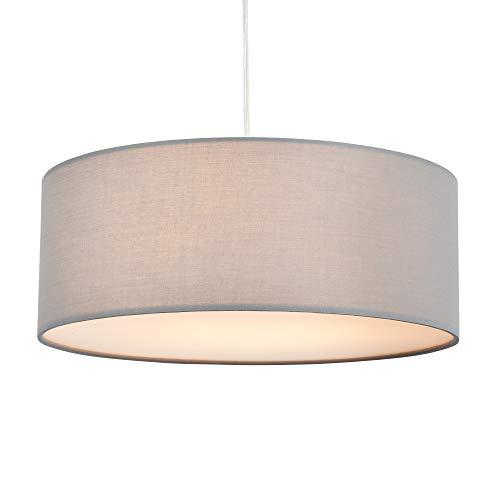 Pendelleuchte, SPARKSOR-Deckenleuchte, moderner Stoff-Lampenschirm, großer grauer Trommel-Lampenschirm, rund, für Schlafzimmer, Esszimmer, Wohnzimmer, 3 Glühbirnen, E27 [Energieklasse A ++]