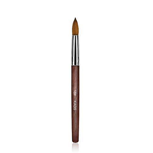 Kads Pinceau pour ongles et manucures en poil de martre, 100% acrylique, en bois rouge, outil de nail art, -12,14,16,18, 20 #, Red, 18#