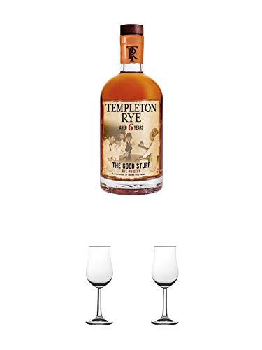 Templeton Small Batch Rye 6 Jahre 45,75% Whisky 0,7 Liter + Nosing Gläser Kelchglas Bugatti mit Eichstrich 2cl und 4cl 1 Stück + Nosing Gläser Kelchglas Bugatti mit Eichstrich 2cl und 4cl 1 Stück