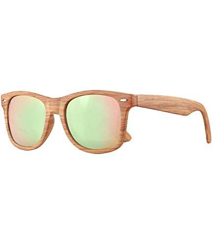 Caripe Retro Nerd Vintage Sonnenbrille verspiegelt Damen Herren 80er - SP (Holzoptik Natur - rosa verspiegelt - 525x)