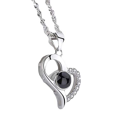 """LINCMAN S925 Sterling Silver Necklace Memory Languages Projection 100 Languages to Express """"I Love You Creative Gift Necklace for Women and Girls(Silver C)"""