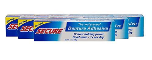 Adhesivo de dentadura seguro, resistente al agua, sin zinc, agarre extra fuerte para superior, inferior o parcial, 1.4 onzas (paquete de 6)