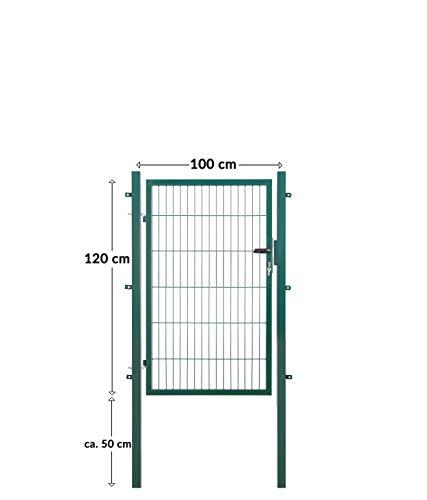 Koll Living Gartentore für Stabmattenzaun - Farbe und Höhe wählbar - inkl. Pfosten und Befestigungsmaterial (Gartentor H 120 x B 100 cm, grün)