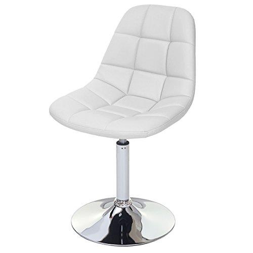 Mendler Esszimmerstuhl HWC-A60, Stuhl Drehstuhl, Retro 50er Jahre Design - Kunstleder weiß, Chromfuß