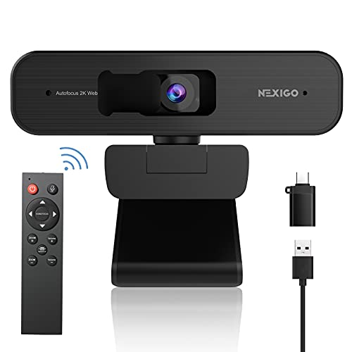 Zoom Certified, NexiGo N940P 2K Zoomable Webcam with Remote Control and Sony Starvis Sensor | AutoFocus | 1080P@ 60FPS | 3X Zoom in | Dual Stereo Microphone, for Zoom/Skype/Teams/Webex (Black)