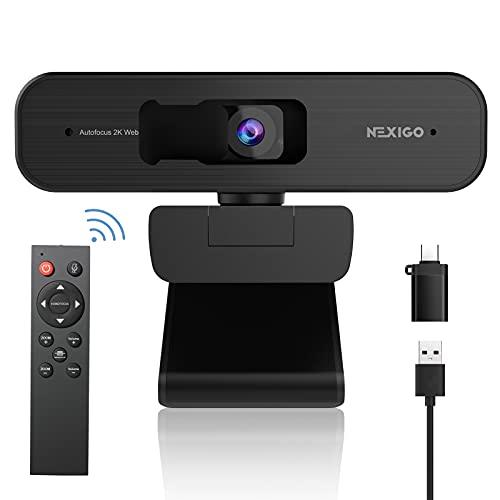 NexiGo 2K Zoomable Webcam with Remote Control and Sony Sensor   USB A & C Web Camera   AutoFocus  ...