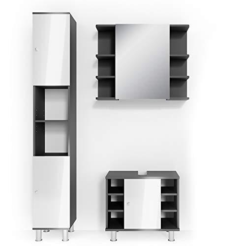 Vicco Badmöbel Set Badezimmermöbel Fynn Spiegel + Unterschrank + Midischrank + Hochschrank (Set 3, Anthrazit)