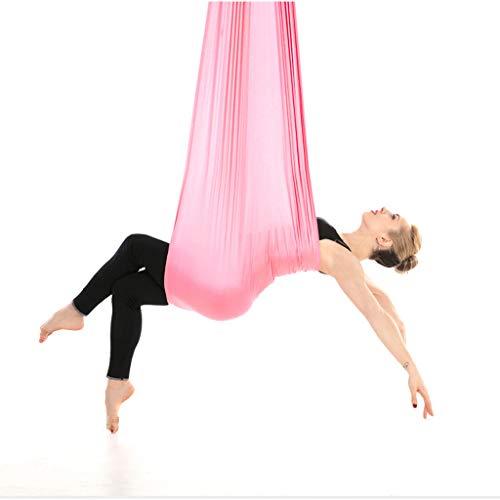 WggWy Hamaca de Yoga aérea, Aerial Pilates Seda de Yoga Switch Complejo Completa para la Hamaca de Yoga aérea Anti-Gravedad Yoga Trapeze Pilates invertidos,Rosado