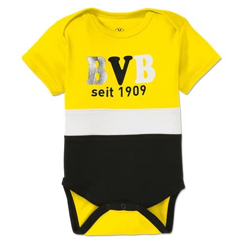 Borussia Dortmund Unisex Baby BVB Body Block Gelb/Weiss/Schwarz Kleinkind T-Shirt-Satz, 50/56