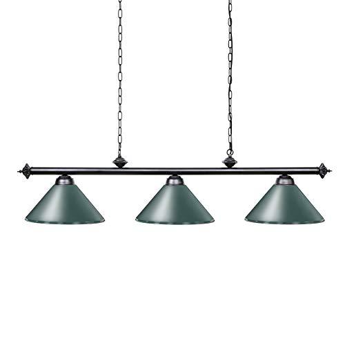 Wellmet 3 Licht Kücheninsel Pendelleuchte, Billardlampe mit matt Grün Schirm, Billard Kronleuchter 150cm Vintage Industrial Retro Deckenleuchte Leuchte für Billardtisch bar Spielzimmer Esstisch Lampe