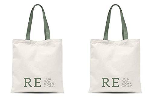 TIENDA EURASIA® Bolsas de Compra Reutilizables - Pack de 2 Bolsas de Tela 100% Algodón Ecológicas - 36 x 48 cm (Re)