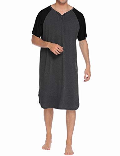 Ekouaer Men's Cotton Nightshirts Henley Nightgown Short Sleeve Sleepwear Dress Big&Tall Lounge Pajamas Shirt Sleepshirt (Dark Grey,L)