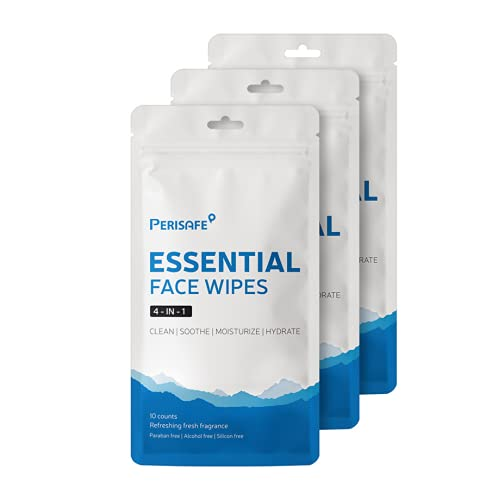 PERISAFE Essential Face Wipes Individually wrapped Sachet | 4-IN-1 | pH Balanced | Free from Alcohol, Paraben, Silicon | Pack of 30 (10 x 3 pouch= 30 wipes)