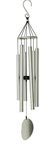 OSVINO Klangspiele Windspiele Aluminium mit Klang Gesamtlänge 90cm groß für drinnen draußen Balkon Garten Hof Terasse, Silber