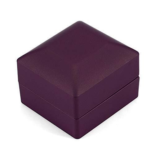 VINGVO Caja de presentación de Anillo, Caja de Anillo de Apariencia Hermosa, Almacenamiento de exhibición Caja de Almacenamiento de Anillo Iluminado ampliamente Utilizada para(Purple)