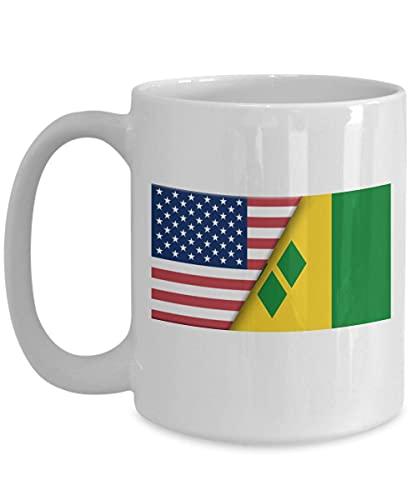Kaffeetasse mit USA-Flagge Saint Vincent Grenadinen, Weiß