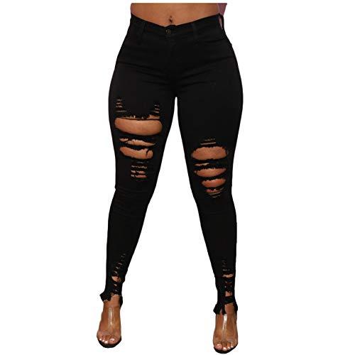 Womens Skinny Jeans, SHOBDW Ripped Denim Pants Stretch Chinos Female Sexy High Waist Fashion Wide Casual Leg Summer Beach Pocket Trouser(#1 Black,S)