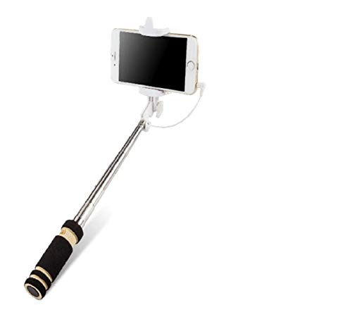 K-S-Trade Kompatibel Mit Huawei Y6 (2018) Dual-SIM Selfie Stick Selfiestick Kabelgeb&en Monopod Mit Kabel Stab Stange Selfportrait Handheldstick Kompatibel Mit Huawei Y6 (2018) Dual-SIM Schwarz