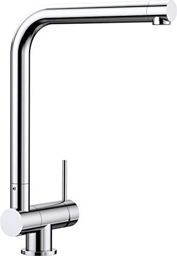 BLANCO Laressa-F, Vorfensterwasserhahn, umklappbare Küchenarmatur für die Platzierung vor dem Fenster, Vorfenster-Armatur, Bedienhebel rechts, Oberfläche chrom, Hochdruck, 1 Stück,521545