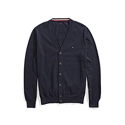 Tommy Hilfiger Men's Adaptive Cardigan Sweater with Magnetic Buttons, navy blazer, Large from Tommy Hilfiger