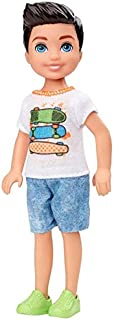 Barbie Club Chelsea Boy Doll (6-inch Brunette) with Skateboard Shirt and Shorts