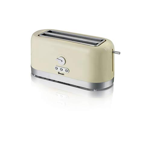 Swan 4 Slice Toaster, Cream, Variable Browning Control and Extra Long Slot: 25mm x 250mm, 1200W-1400W, ST10091CREN