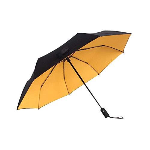 kyman Compacta automática Paraguas Plegable-Impermeable a Prueba de Viento Ligero de Viaje Paraguas for Hacer Negocios Profesionales o el Uso Diario (Color: Amarillo)