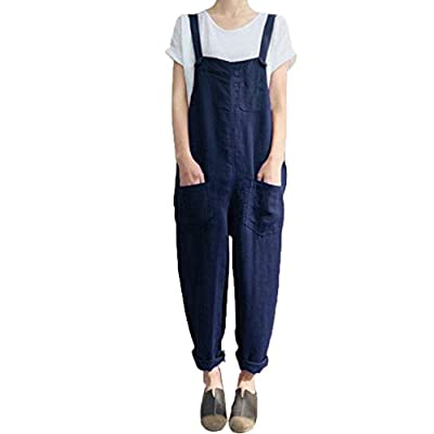 Women's Casual Jumpsuits Overalls Baggy Bib Harem Pants Playsuit Trousers Cotton Linen Dungarees (Navy, L)