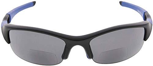 Eyekepper TR90 unzerbrechliche Bifokal-Sonnenbrille zum Laufen, Angeln, Autofahren, Golf, Softball, Wandern, Lesebrille, TH6166-Bifokal, Schwarz - Mattschwarz-blauer Rahmen/graue Linse - Größe: +1.00
