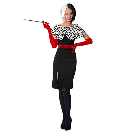 Cruella De Ville Dog Lady 101 Dalmatiner Perücke Handschuhe Full Set Kostüm