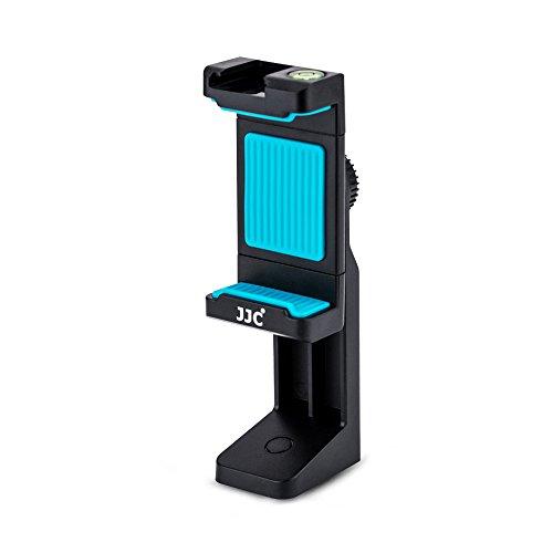 JJC Universal 360 Grad drehbar Stativ Halterung mit Verstellbarer Halteklaue, Cold Shoe Mount und Wasserwaage für Smartphones