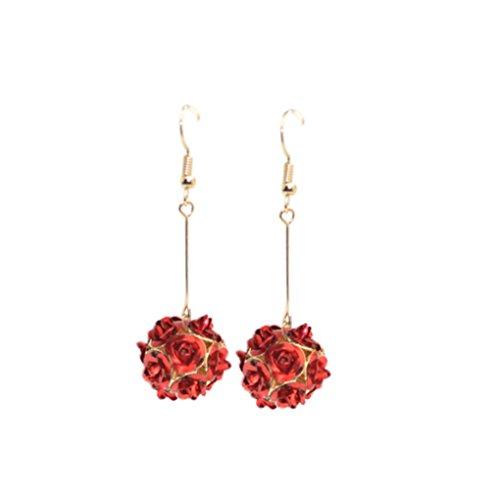 Bobury Colorido Cristal Rose Flowrs Stud Earrings Gancho De Borla Pendientes Largos Mujeres Joyería