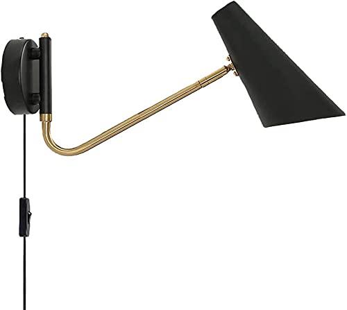 Brazo de luz de pared retro con tapones y cables, luces de pared interior industrial ajustables con interruptores, luces de pared LED leyendo vino E27