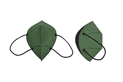Mascarilla Higiénica Plus Verde Botella - Protección Bidireccional - 5 Unidades - Fabricada en España - Homologada y Certificada por AENOR y AITEX - Reutilizable hasta 20 lavados