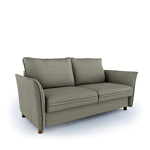 place to be. Sofá cama de 160 cm de ancho con cajón de cama de 3 plazas, sofá con función de dormir, plegable, color caqui y haya maciza