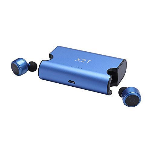YFINE X2T Earbuds Mini True Auricular inalámbrico Bluetooth CSR4.2 Auricular con Banco de Potencia para iPhone 8 Android (Color : Azul)