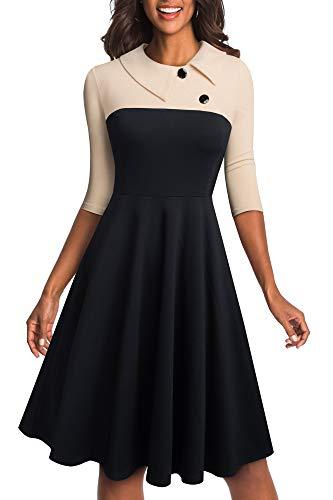 HOMEYEE Damen Vintage Revers Colorblock Houndstooth Patchwork Swing Business Kleid A121 (XXL, Aprikose + Schwarz)
