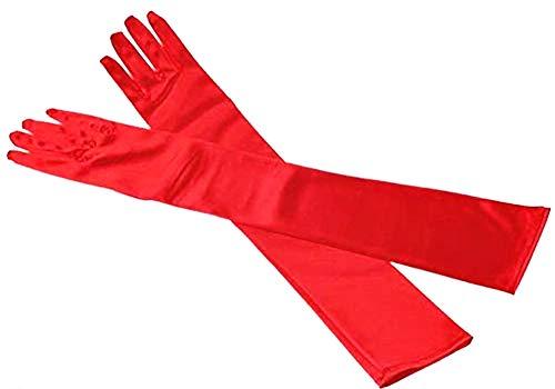 Lange vrouwelijke handschoenen - 20's vrouw - eenvoudig - elegant - stretch - satijn - origineel cadeau-idee - rood