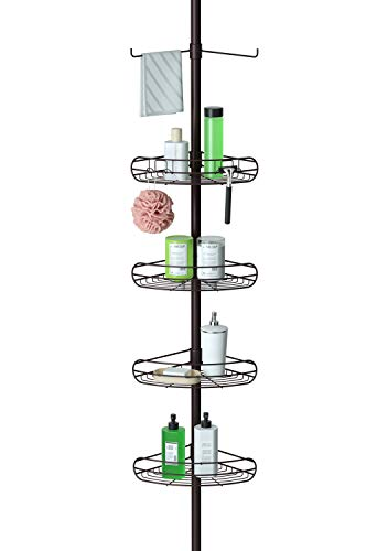 ALLZONE Shower Tension Pole Caddy, Rustproof Stainless Steel, 4 Tier, 1 Towel Bar, 56-114 Inches, Oil Bronze