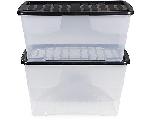 Ondis24 2X Aufbewahrungsbox Curve mit Deckel, 100 L + 80 L Set, transparente Kunststoffbox, stapelbar, nestbar, Lagerbox