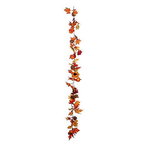 Dasing Fall Maple Leaf Garland, Artificial Berries Sunflower Pine Cones Pumpkin for Wedding Party Dinner Fireplace Door Decor