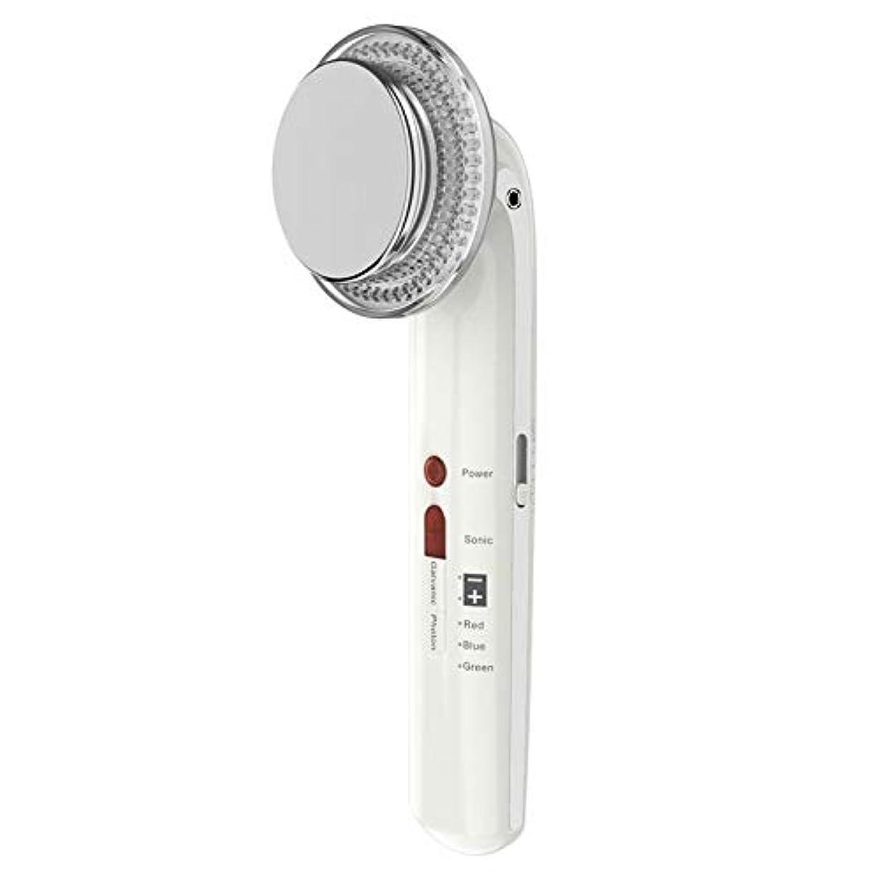 コメンテーター世界に死んだ伝統的7で1振動美容機器ems超音波ボディフェイシャル痩身ツールled光子療法フェイスマッサージャー用ボディシェーピングフェイシャルスキンケア (Color : White)