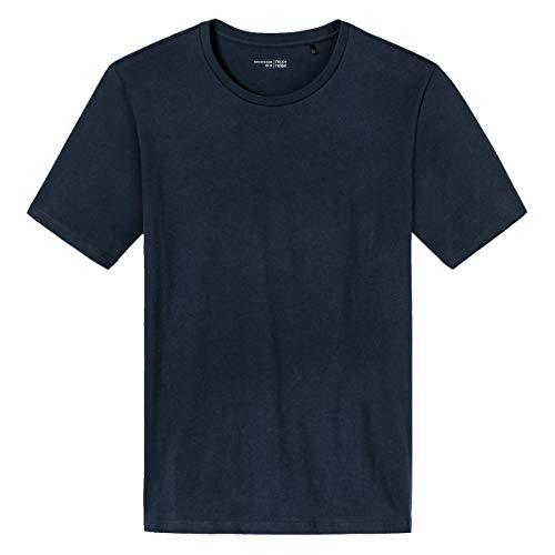 Schiesser Herren Mix & Relax T-Shirt Rundhals Schlafanzugoberteil, Blau (Dunkelblau 803), Large (Herstellergröße: 052)