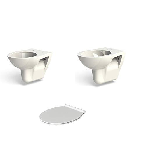 Sanitari sospesi Azzurra Fast completi di wc, bidet e sedile soft close slim