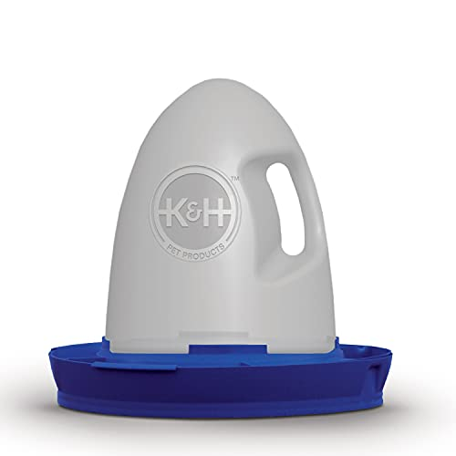 K&H Pet Products Poultry Waterer 2.5gal. (Unheated) Blue - No Roost Top & Non-Spill Refill