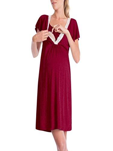 Manadlian Robe de Maternité d'allaitement en Chemise de Nuit Jupe De Maternité Manches Courte Bébé Allaitant Enceinte Grossesse Midi Robe