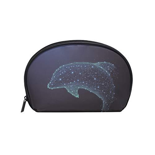 Trousse de maquillage avec fermeture à glissière pour sac à main d'embrayage Digital Dolphin Travel Pouch Sac de rangement carré pour femme dame