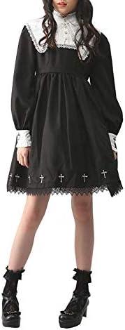 Nite closet Black Lolita Gothic Dresses Long Sleeve Vintage Cross Embroidery Long Sleeve 8 10 product image