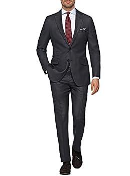 LN LUCIANO NATAZZI Italian Men s Suit 180 S Wool Cashmere Ticket Pocket Jacket  40 Short US / 50S EU/W 34  Charcoal Gray