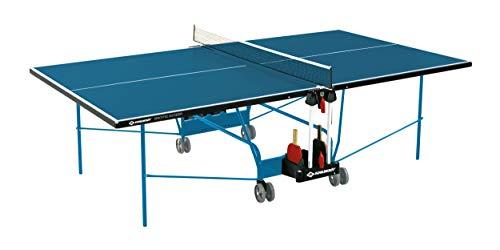Schildkröt Tischtennisplatte Space Tec Outdoor, Outdoor Kompakttisch, wetterfeste 4 mm Melaminharzplatte, blaue Oberfläche, blaues Untergestell, klappbar und durch Räder leicht fahrbar, 838544